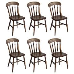Set of Six Antique English Roman Windsor Chairs