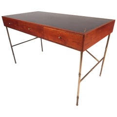 Mid-Century Walnut Desk with a Leather Top