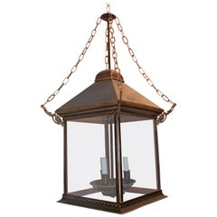 Tole Brown Distressed Leather Gilt Three-Light Glass Lantern Pendent Fixture