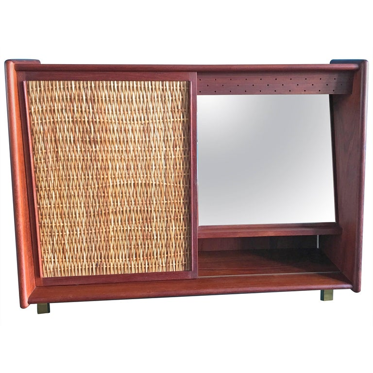 Vintage Teak Bathroom Cabinet With Sliding Door And Mirror Denmark