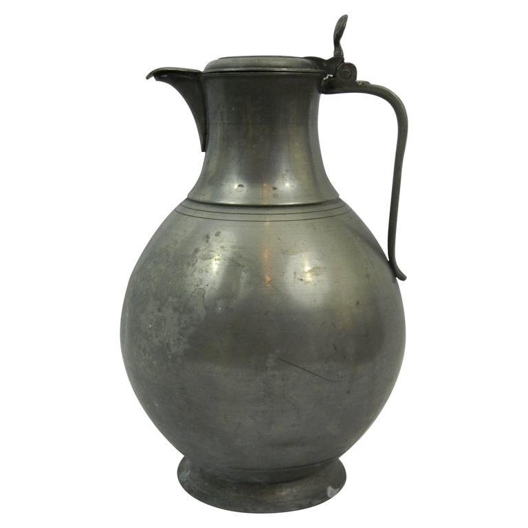 Extra Large English Pewter Tankard or Water Jug, 18th Century