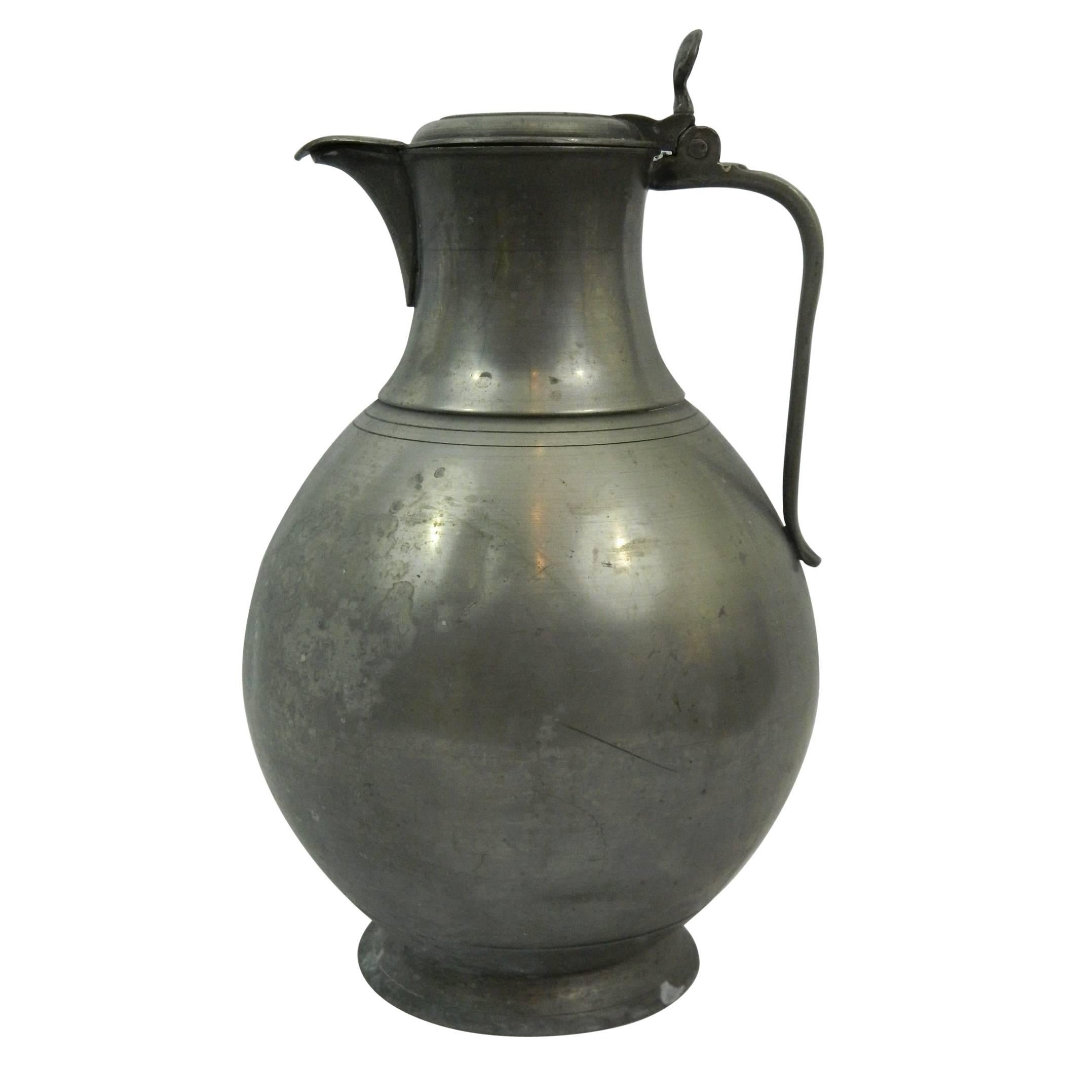 Extra Large English Pewter Tankard or Water Jug, 18th Century