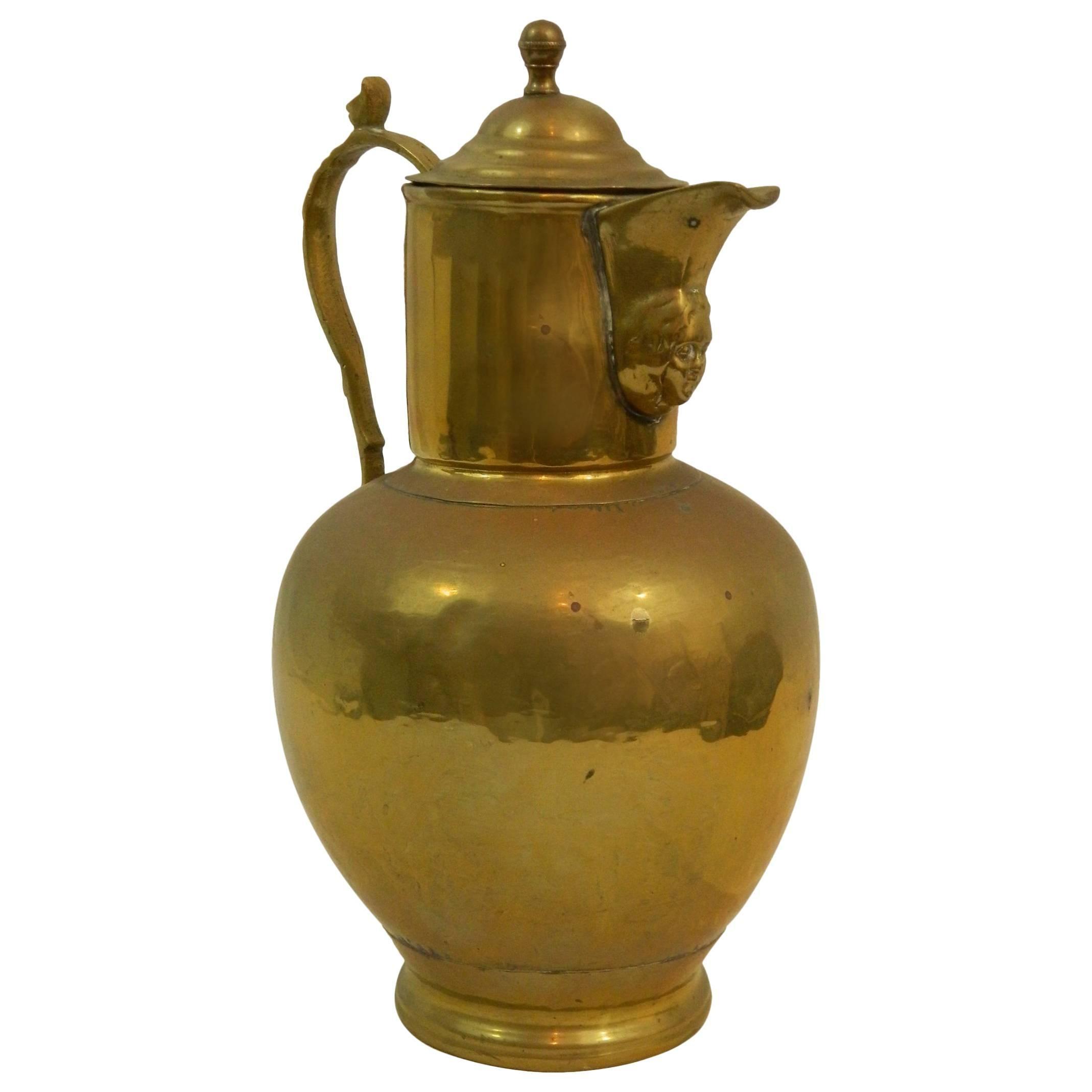 English Brass Wine Jug or Pitcher, 19th Century