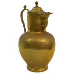English Brass Wine Jug or Pitcher, 19th Century