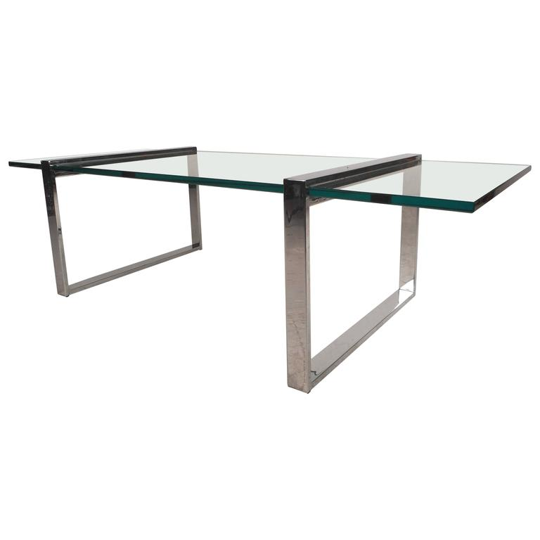 Mid-Century Modern Chrome Coffee Table in the Style of Milo Baughman