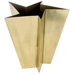Italian Star Form Brass Vase by Tommaso Salocchi, Studio Salocchi