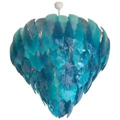 Modern Turquoise Murano Glass Leaves Chandelier