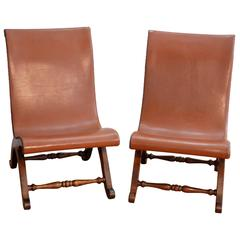 Slipper Chairs Pair by Pierre Lottier for Valenti