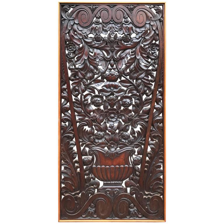 Antique and Incredibly Detailed, Large Hand Carved Mahogany Wall Panel/Plaque For Sale