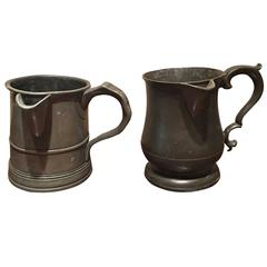 Pair of English Pewter Mugs or Cups, 18th Century