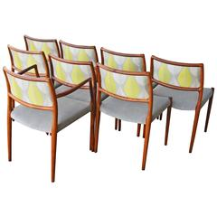Set of Eight Niels Otto Møller Rosewood Model #80 Dining Chairs