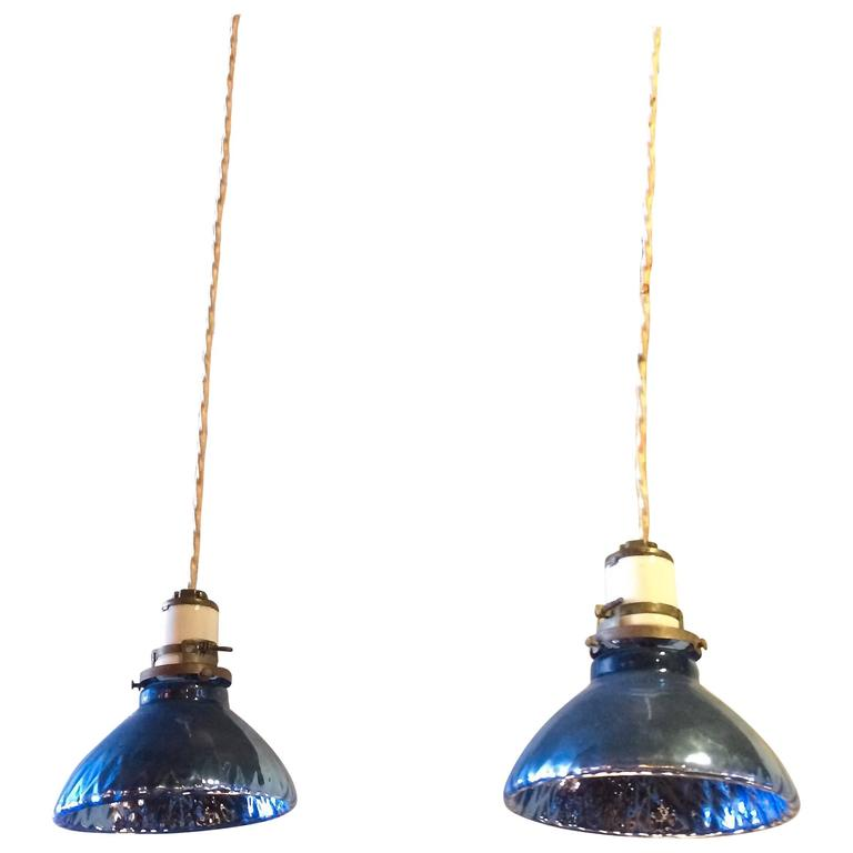 Pair of Petite Deep Blue Quilted Mercury Glass Bell Pendants