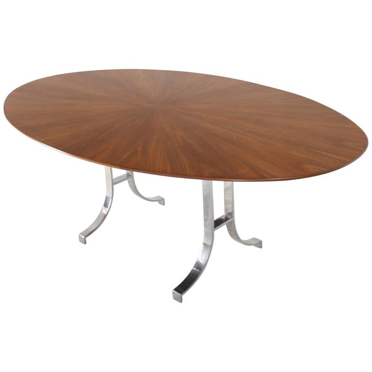 American Oval Walnut Top Stainless Steel Base Dining Conference Table For Sale