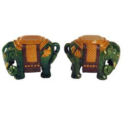 Ching Dynasty Style Green Glazed Elephant Garden Seats, circa 1930s