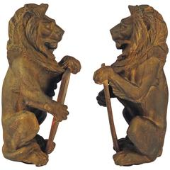 Solid Pair of Iron Lions Edwardian, England, 1919