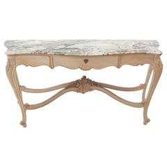 Tall Bleached White Wash Painted Walnut Marble-Top French Sideboard Console