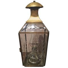French Brass Lantern with a Hinged Door, Late 19th Century