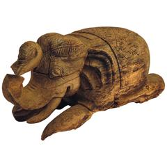 Thai Carved Wood Elephant, circa 1900