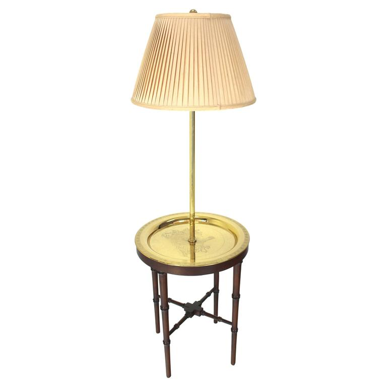 Four Legs Faux Bamboo Brass Tray Table Floor Lamp At 1stdibs