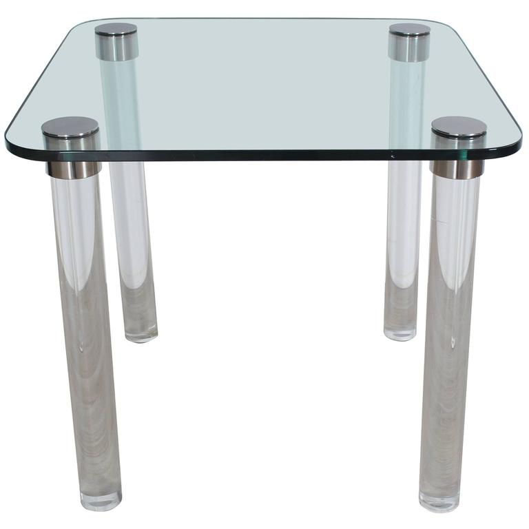 Thick Glass Top Lucite Legs Mid Century Modern Square Game Dinette Table  For Sale