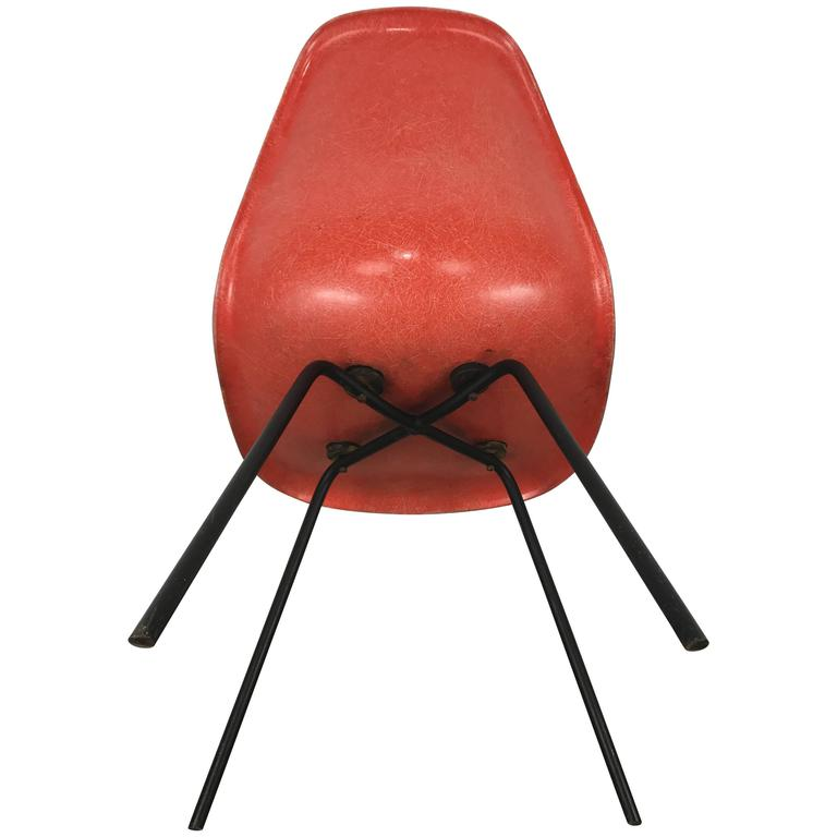 Mid Century First Year Production Charles Eames Fiberglass Side Chair  X Base 1