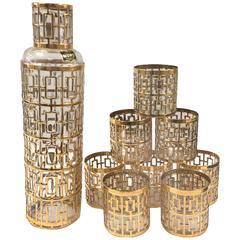Imperial Shoji Gold Glass Saki Set