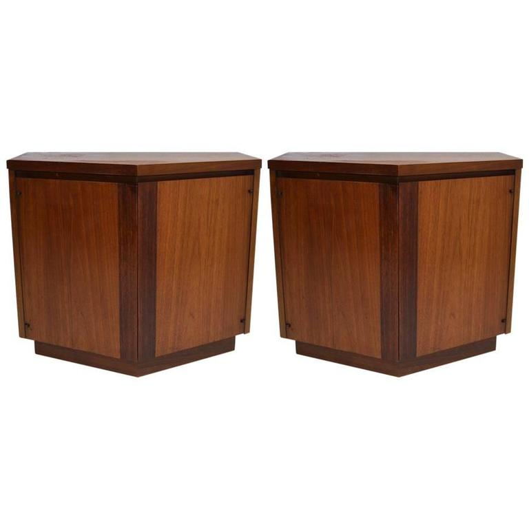 Pair of Lane Nightstands of Polygon Form