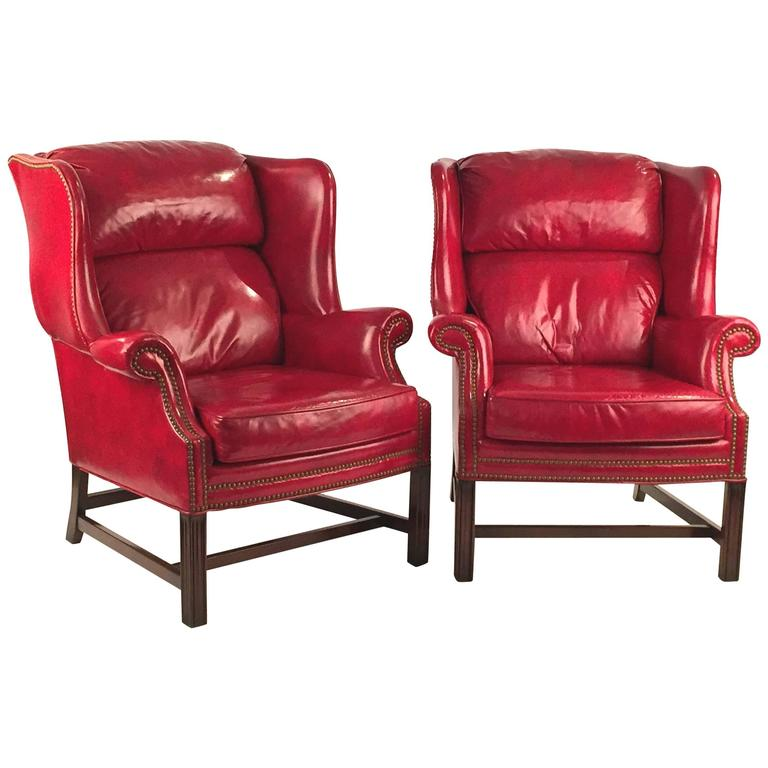 Club Chairs Pair in Matching Red Leather  1