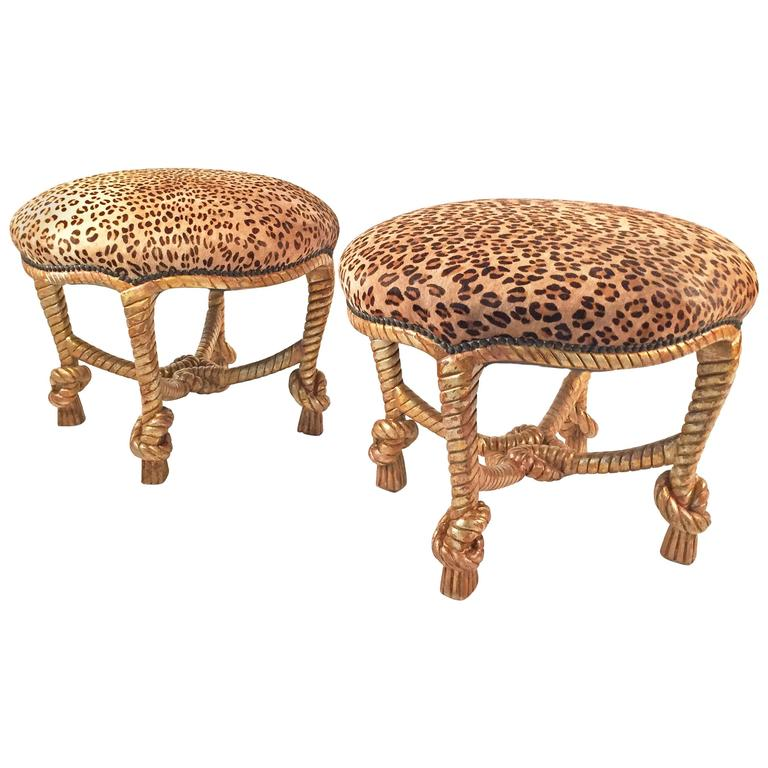 Pair of Matching Leather and Carved Wood Stools For Sale