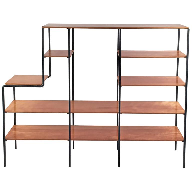 Mid-Century Modern Wood and Iron Bookshelf