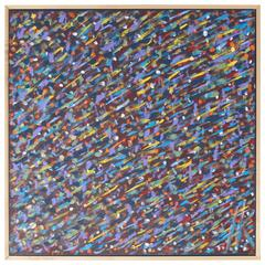 Square Abstract Modern Painting Artist Signed Herman Hershel Kahan
