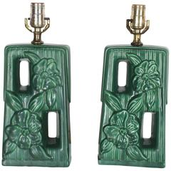 Pair of Green Glazed Pottery Ceramic Table Lamps with Floral Motif