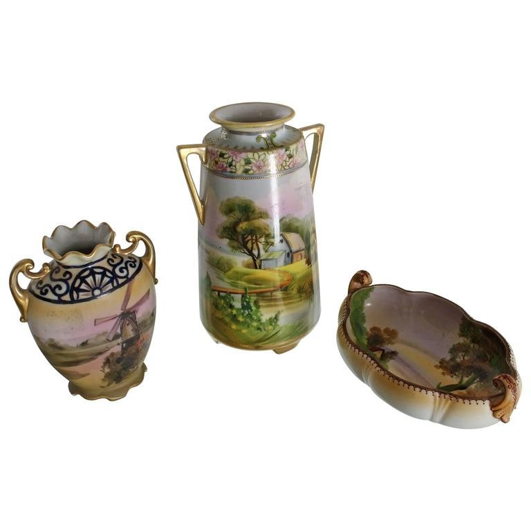 Nippon Hand Painted Porcelain Vases And Bowl Three Pieces Porcelain