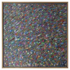 Square Abstract Modern Painting Artist Signed Herman Kahan