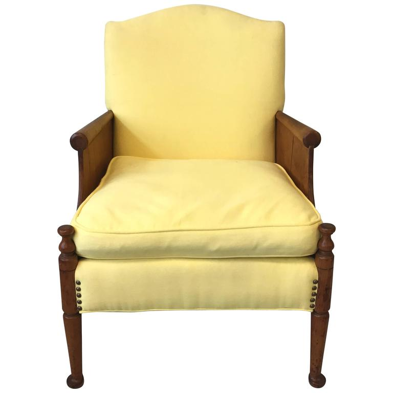 1940s French Oak Side Chair with Yellow Upholstery