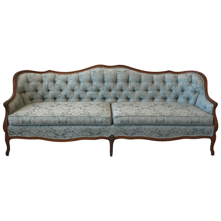 1940s French Blue Damask Tufted Sofa With Oak Frame Border 1