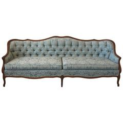 1940s French Blue Damask Tufted Sofa