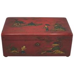 19th Century Chinese Red Lacquered Humidor Decorative Box