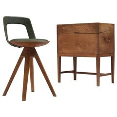 Swivel Stool and Sewing Chest by Kindt-Larsen and Gjerløv-Knudsen