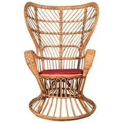Rattan Lounge Chair by Gio Ponti for Bonacina