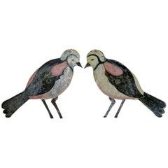 Pair of French Tôle Peinte Birds, circa 1920s