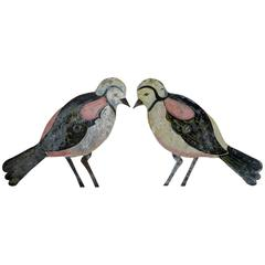 Pair of French Tôle Peinte Birds, circa 1920s
