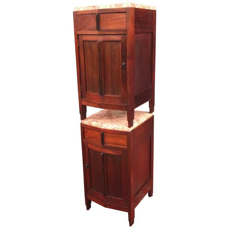 Amsterdam School Mahogany Macassar & Marble Nightstands Cabinets Tables For Sale