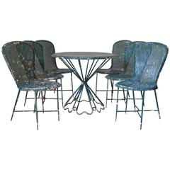 "Rare Matégot ""Palm Beach"" Table and Chair Set, France, 1950s"
