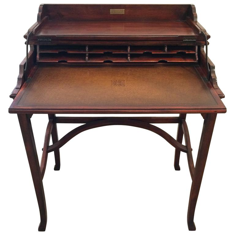 Exquisite Campaign Style Mahogany and Leather Folding Writing Desk