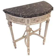Romantic French Painted Wood and Marble Demilune Console Table