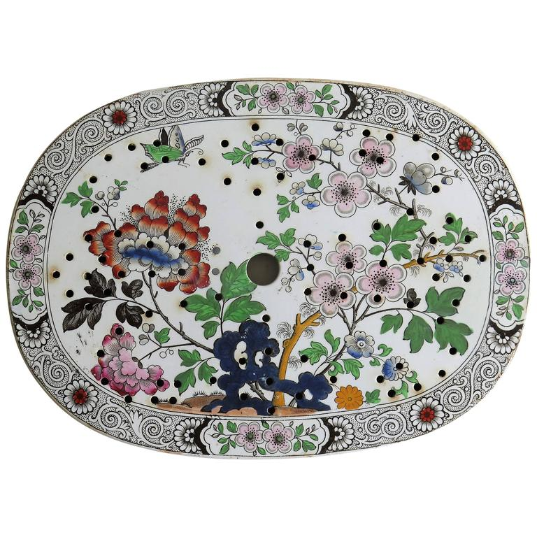 Ironstone Drainer Plate, by Hicks, Meigh and Johnson, Chinoiserie Ptn For Sale