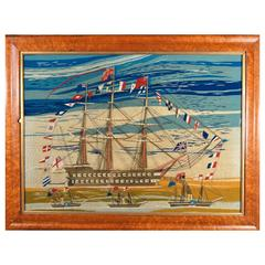 Sailor's Woolwork of Four Ships Including Fully Dressed Battle Ship, circa 1865