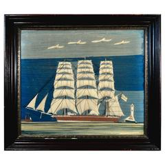 Folk Art Sailor's Woolwork or Woolie of a Clipper Ship