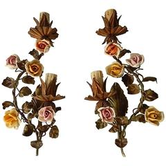 1890 French Double Arm Old Vintage Tole Porcelain Roses Flowers Sconces